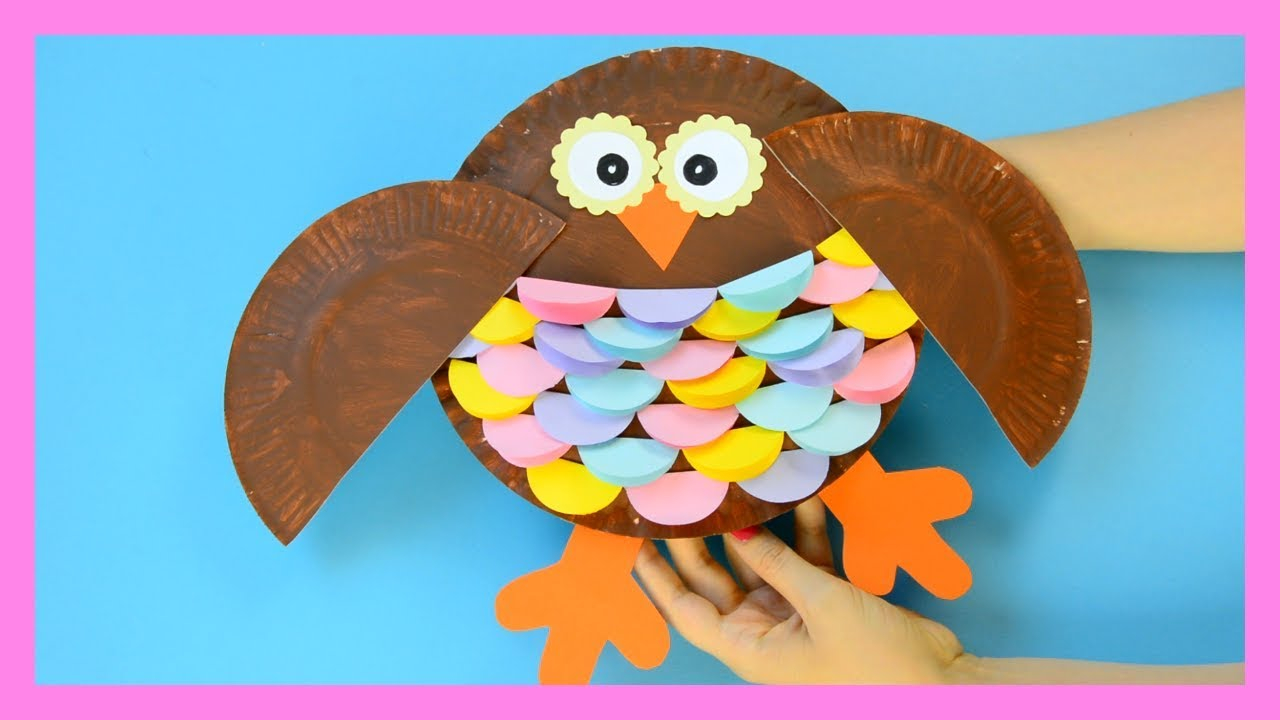 The simple paper owls crafts idea Owl Paper Plate Craft For Kids Youtube