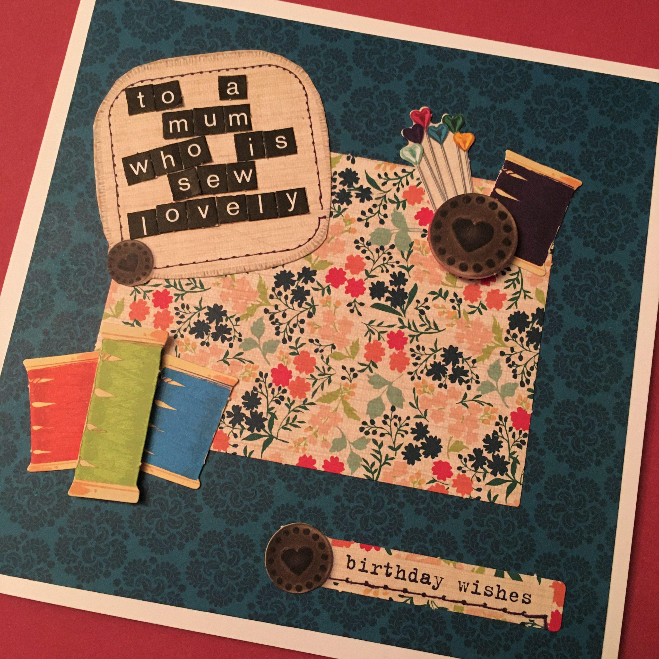 Sewing themed handmade birthday card