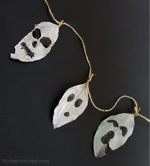 Halloween Decor - Painted Leaf Ghosts
