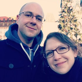 Stu and Kay by the Christmas tree in Prague 2016