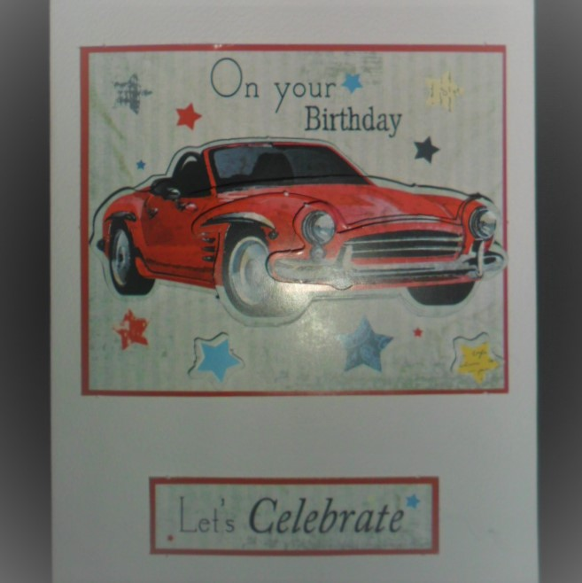 Car Crazy - Handmade Card - 3D red car on bright coloured star background layered on red, on a white card