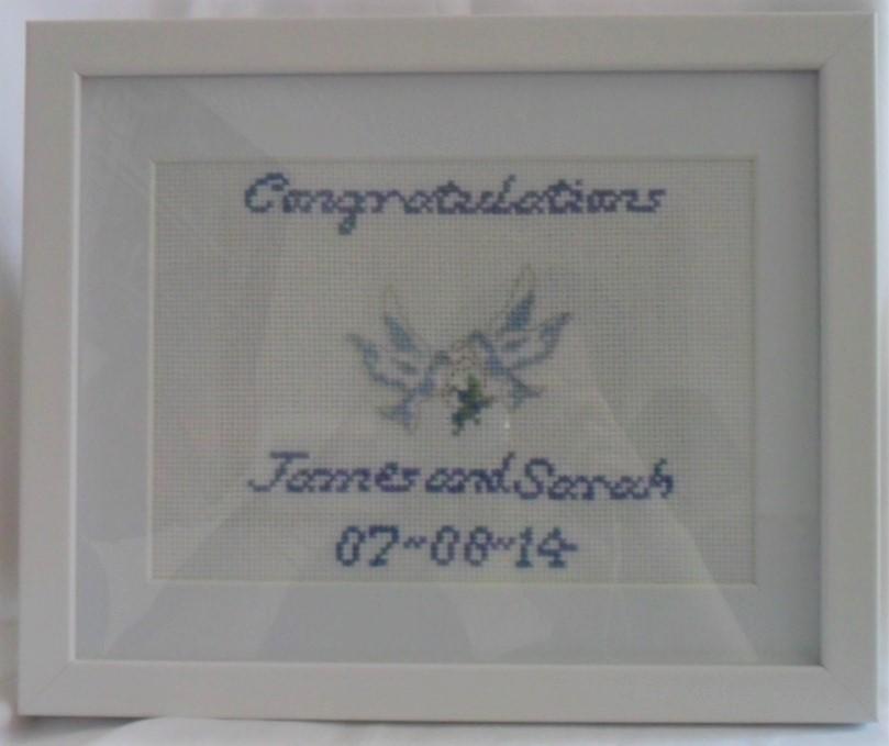 Wedding sampler with dove image