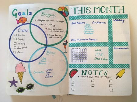 August 2021 Notes and Goals Bujo spread