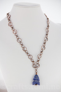 Lapis Lazuli fish with handcrafted copper chain