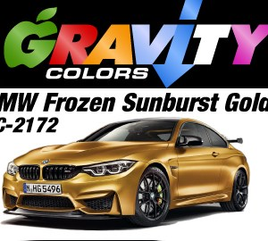 BMW Frozen Sunburst Gold Gravity Colors Paint– GC-2172 Directions: SHAKE BOTTLE UNTIL PAINT IS THOROUGHLY MIXED UP! USE ONLY WITH AIRBRUSH! Apply over white or grey primer. Gloss clear coating required. DO NOT USE NEAR HEAT, SPARKS OR OPEN FLAME! Use in well ventilated area. Tighten cap securely after each use