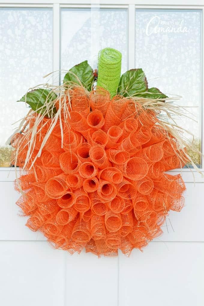 Deco Mesh Pumpkin Wreath Step By Step Tutorial And Video