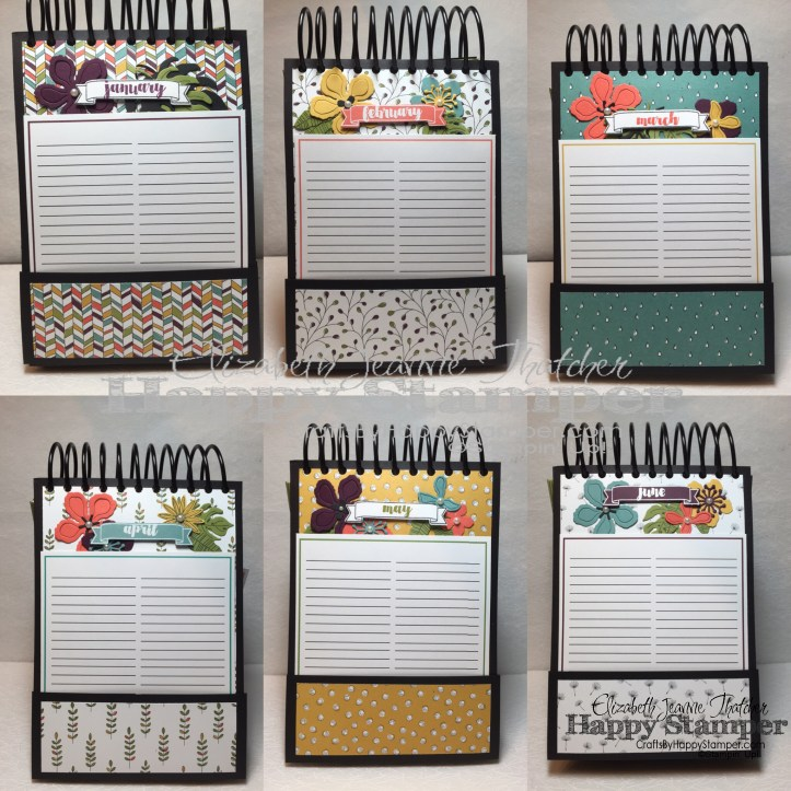 Stampin Up, Number of Years, Grateful Bunch, Perpetual Calendar, Back to Basics, Wildflower DSP
