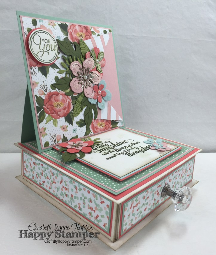 Stampin Up, 3D, easel, box, botanical builders, feel goods, chalk talk, birthday bouquet