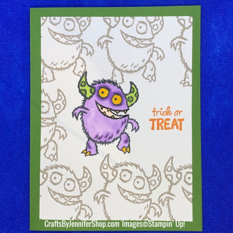 monster trick or treat, holiday, halloween, monster, stampin up, custom paper