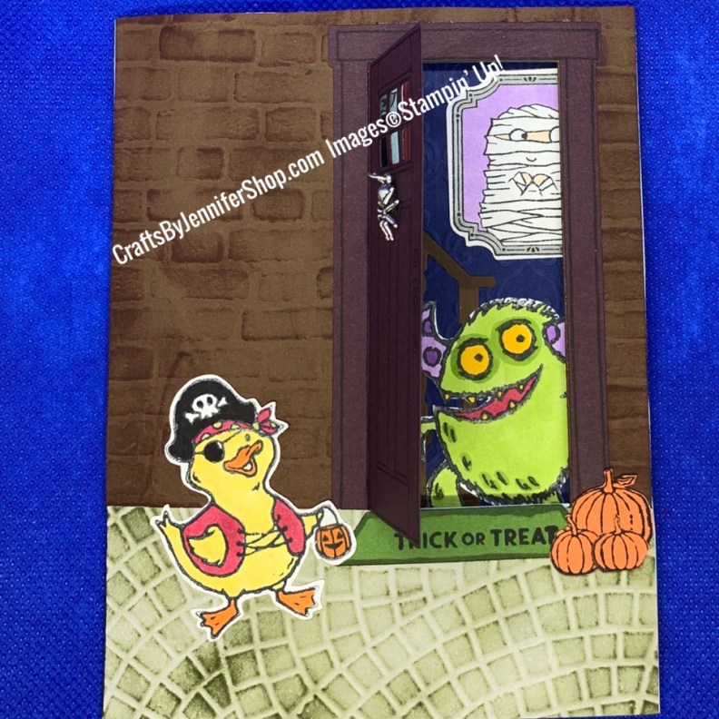 monster stepping through door duck trick or treating monster answering door trick or treat mummy in picture frame