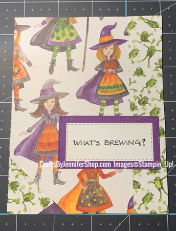 witch and frog halloween card, witch, frog, broom, hopping frog, what's brewing, child
