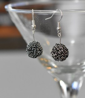Silver and black wire bead earrings