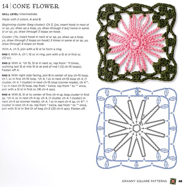 Craftside Cone Flower Granny Square Pattern From The New
