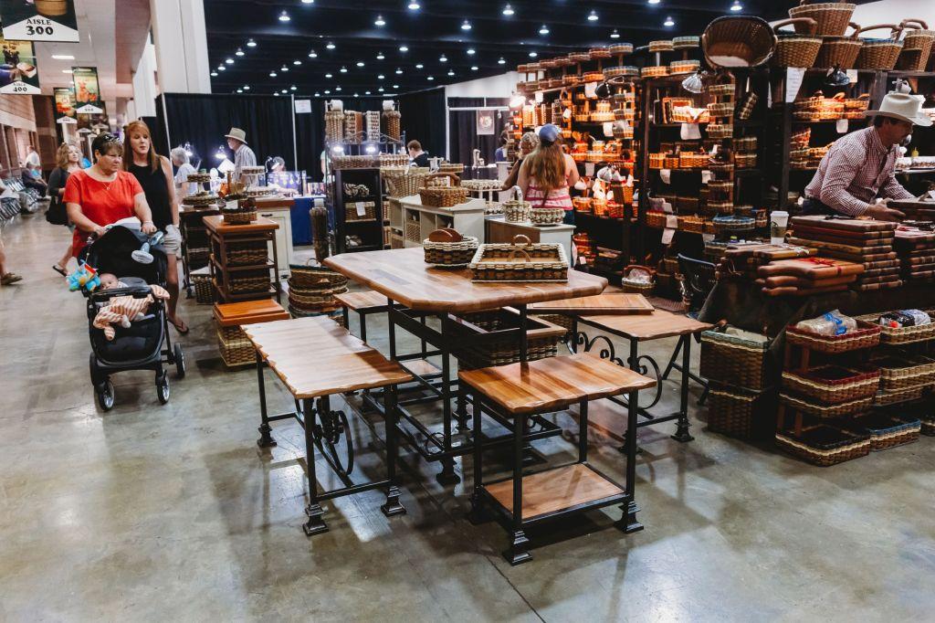 Wood furniture sets on display at the Gatlinburg Craftsmen's Fair