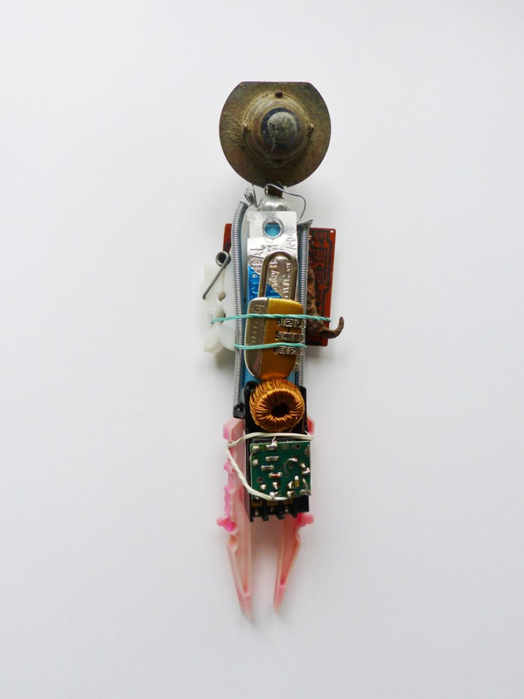 A sculpture made from found objects.