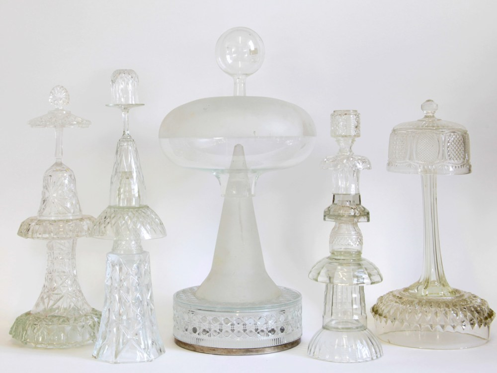 assemblage sculptures made from reclaimed glass objects