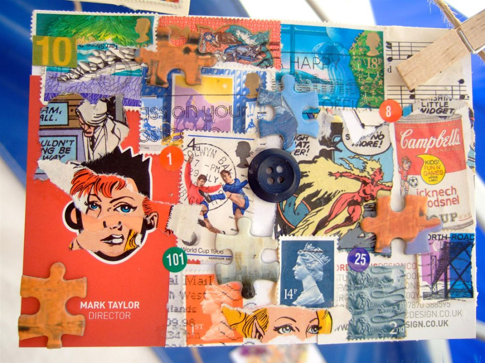 A collage featuring vintage stamps, comics and advertisements.
