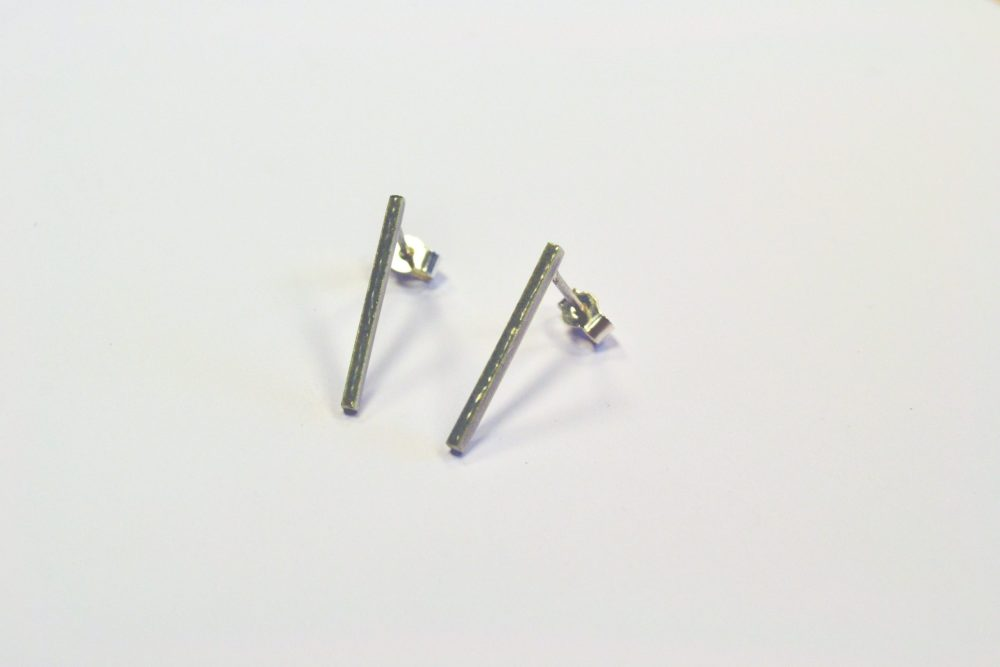 grey enamel silver thin line stud earrings