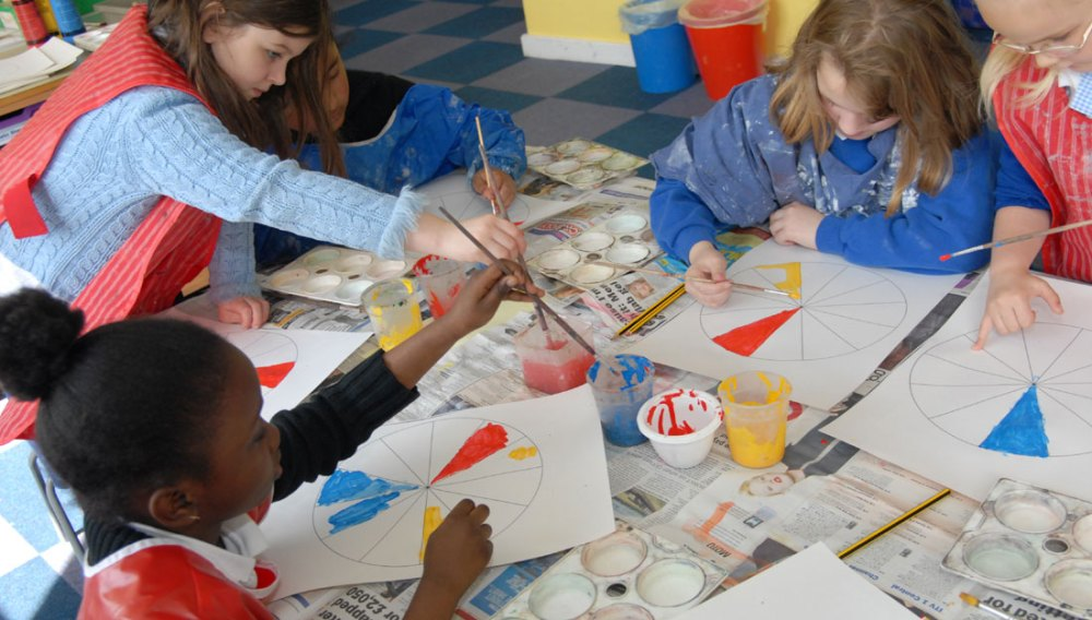 Children sit around a table painting segments of a circle.