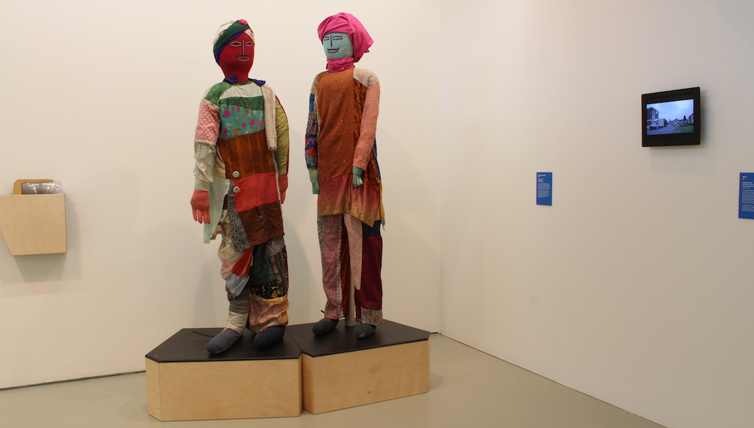 Nek Chand Saini cloth figures on plinth in gallery space