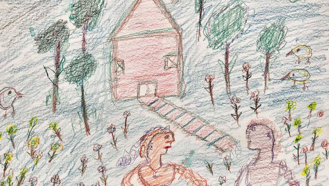 A naïve drawing of two people in front of a simple house with basic birds, trees and plants.