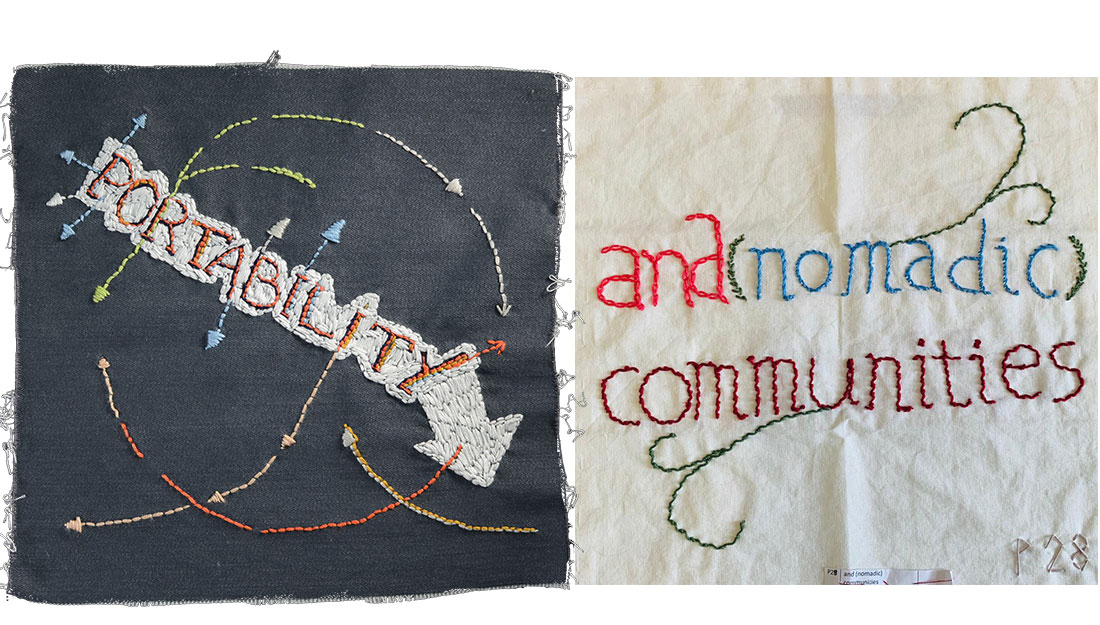 square patches stitched with words, 'portability' and 'nomadic communities'