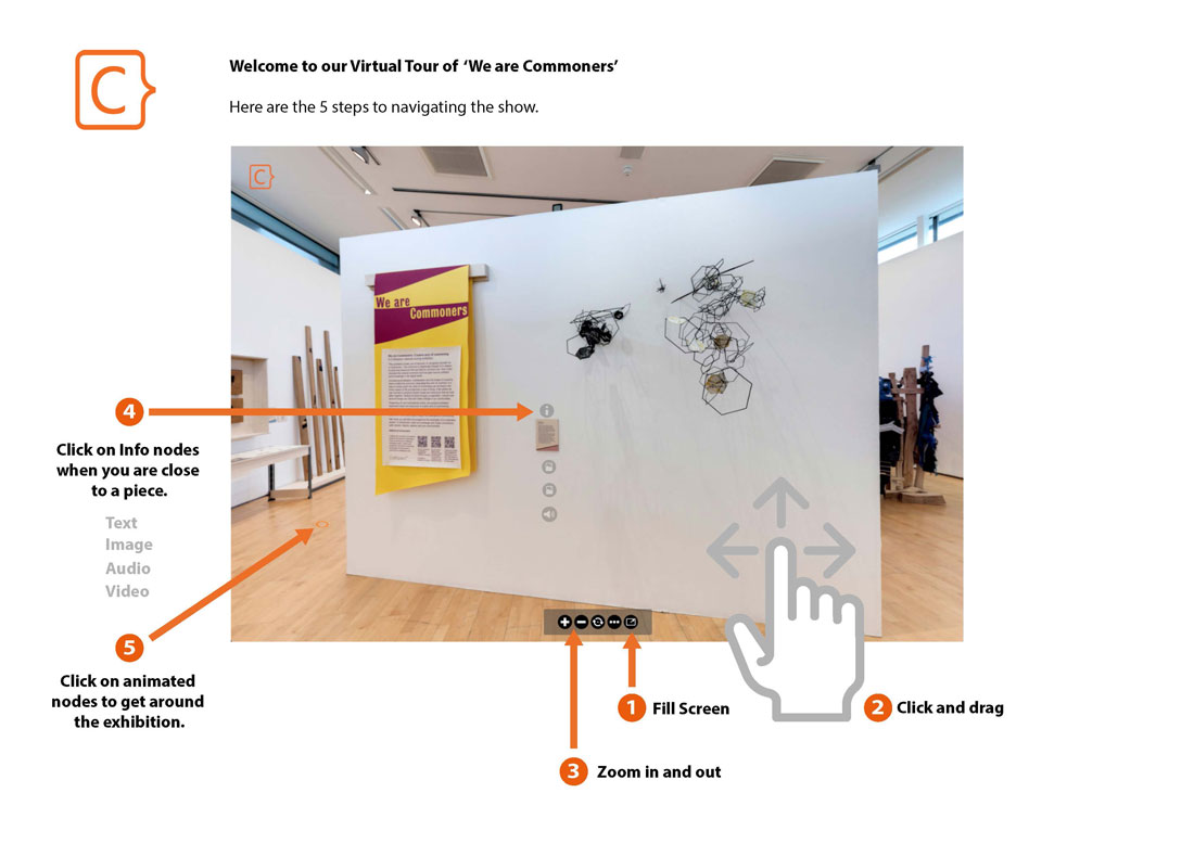Visual instructions for how to use the virtual tour.