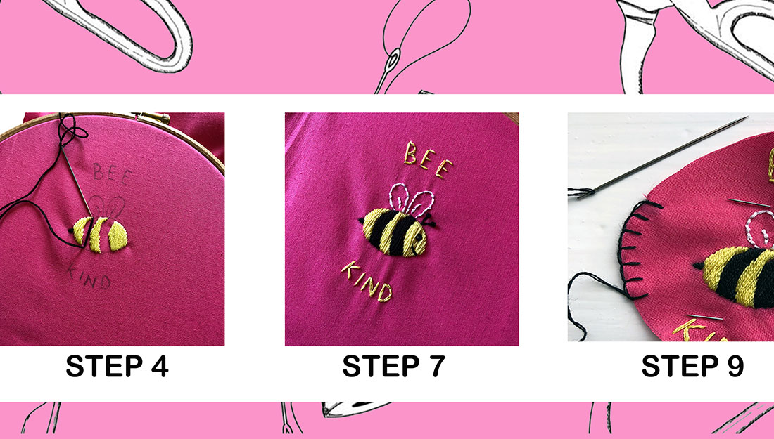 stages of embroidering a patch