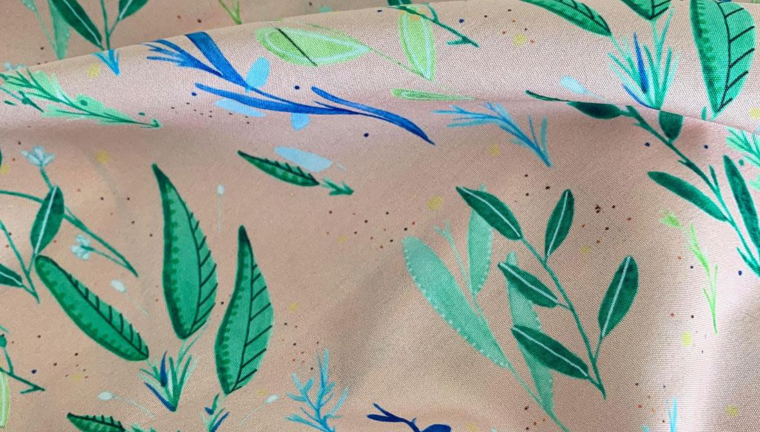 Fabric with a pretty leaf design.
