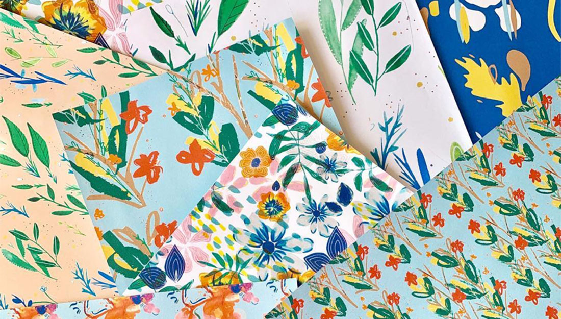 Fabric samples with flower designs.