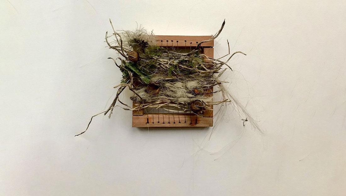 foraged materials woven on a small frame.