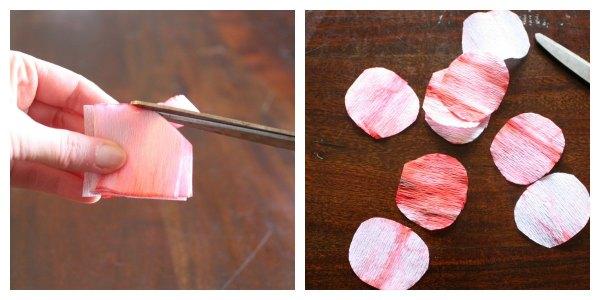 Step 2: Cutting Crepe Paper Circles