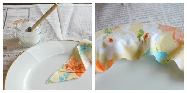 Adhering the fabric to the plates