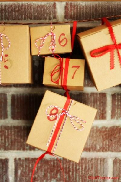 Detail of Easy Advent Calendar Garland