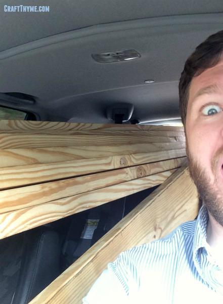 Hauling lumber in a CRV