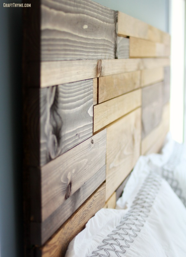Detail of a salvaged wood headboard