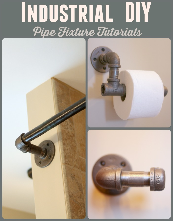 Tutorials on how to create iron pipe shower curtains, toilet paper holder, and towel bars for an industrial look.