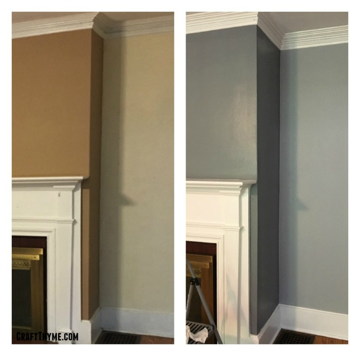 Before and after of the craftsman fireplace