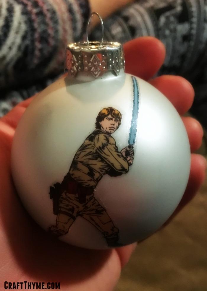 DIY tutorial that creates a Luke Skywalker Star Wars Ornament