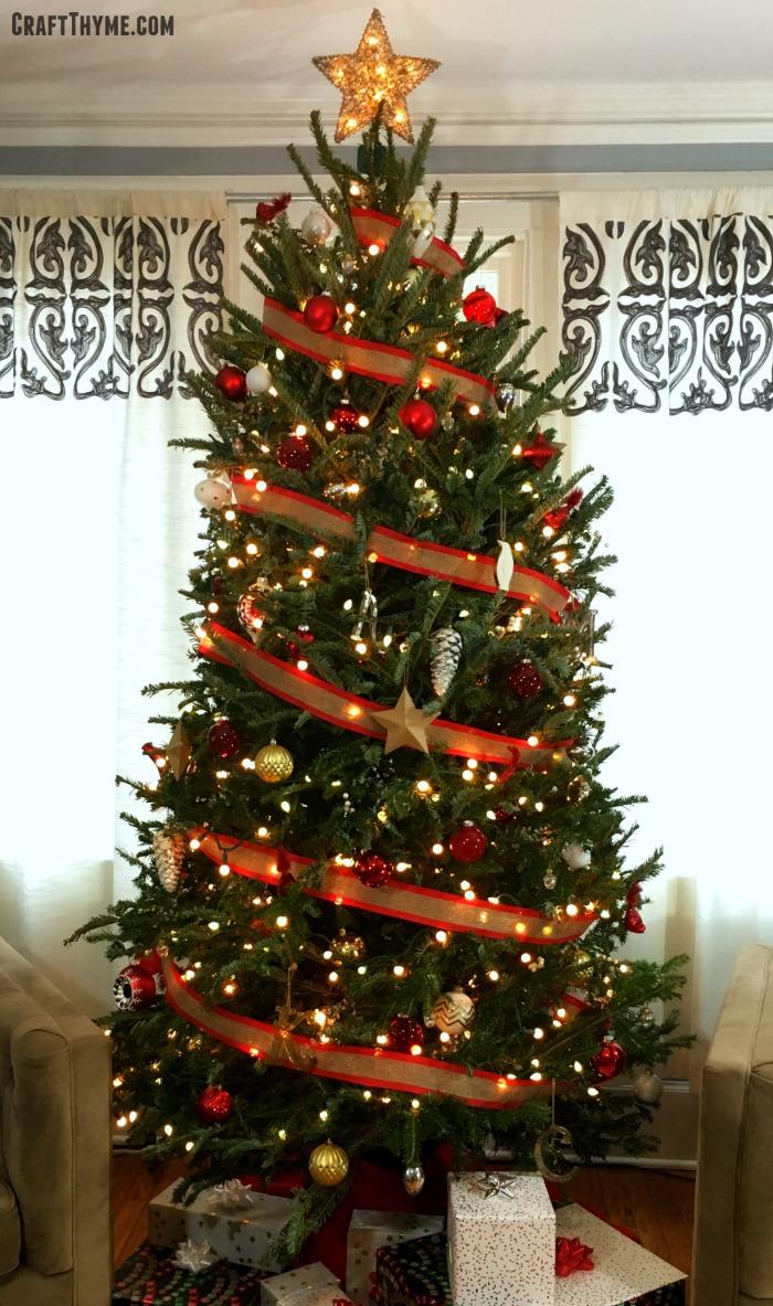 red white gold christmas tree • The Reaganskopp Homestead