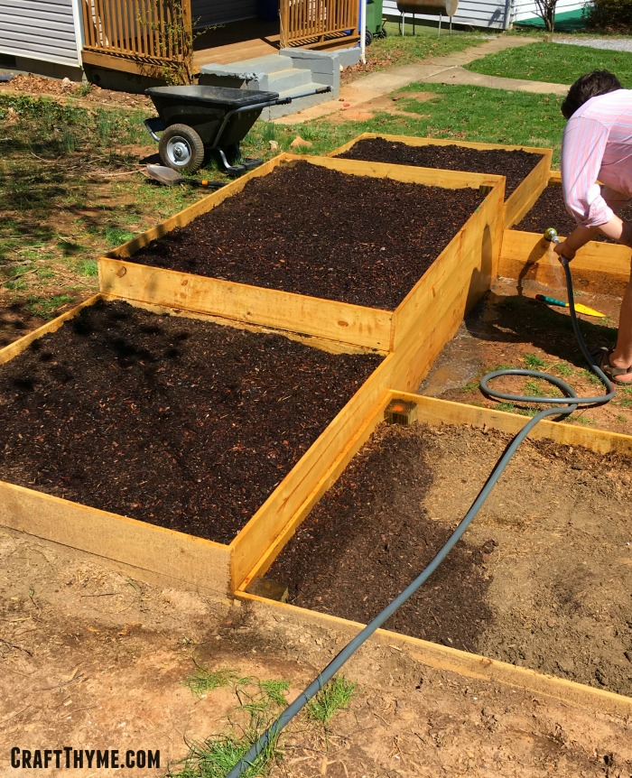 Adding the final layer of premium garden soil to get your raised garden beds off to a good start.