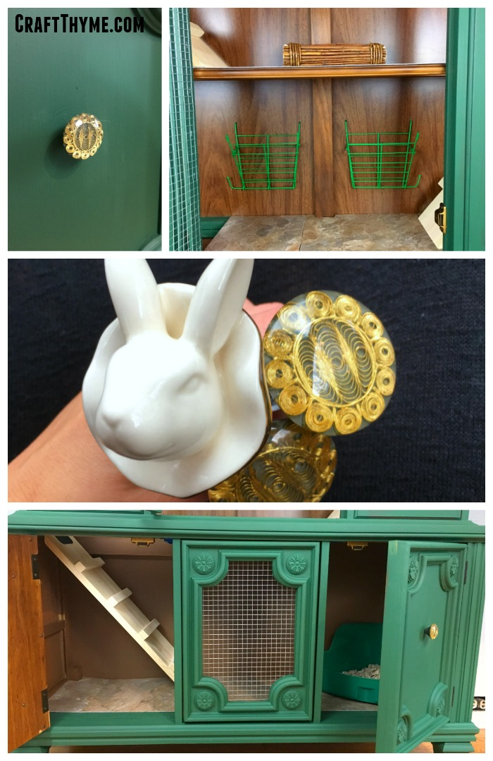 Lots of details for the bunnies! White rabbit cabinet pulls, hay feeders, secret hiding spaces, ramps, and more in this DIY indoor rabbit hutch