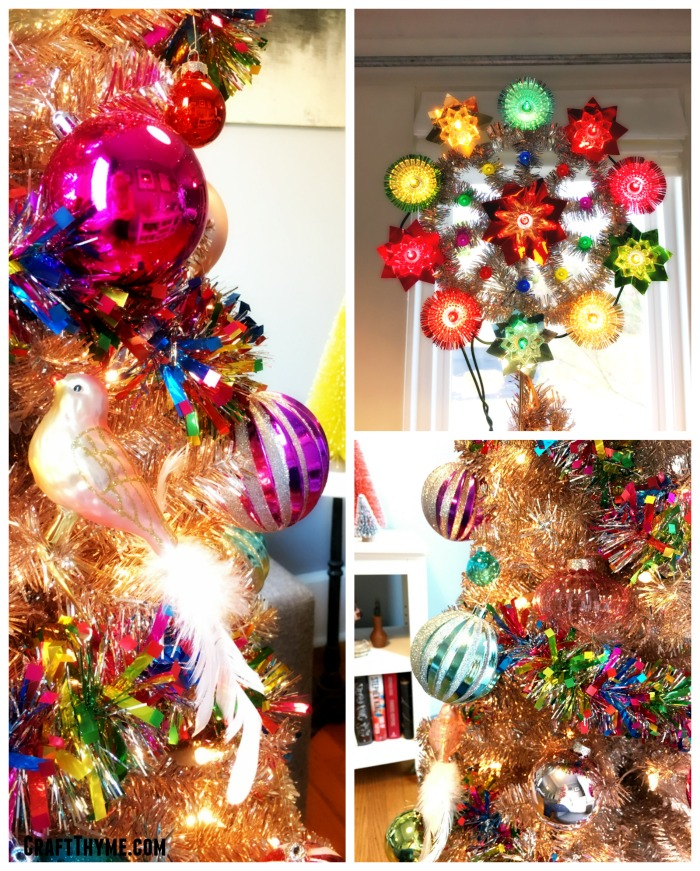 Details of candy colored glass ornaments and retro style tree topper for Christmas.