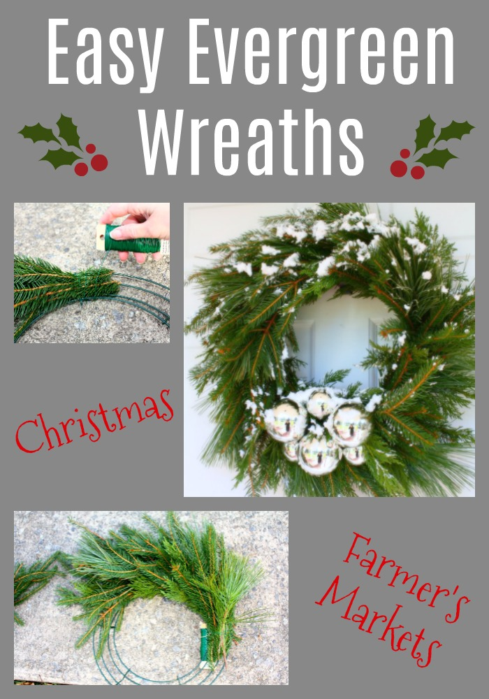 Easy evergreen wreath tutorial.  Anyone can make a wreath for Christmas decoration or even sales at Farmer's Markets and Craft Shows.
