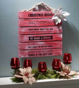Christmas Rules - Wood decor