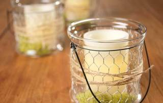Chicken Wire Glass Bucket Lanterns