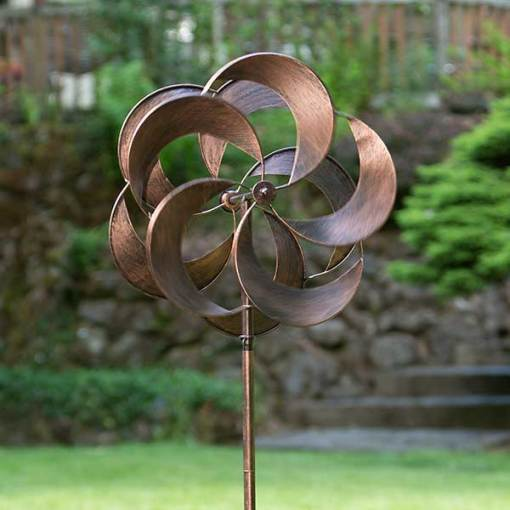 """Turbo Copper Metal Wind Spinners 60"""" tall"""