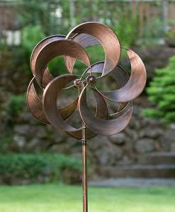 "Turbo Copper Metal Wind Spinners 60"" tall"
