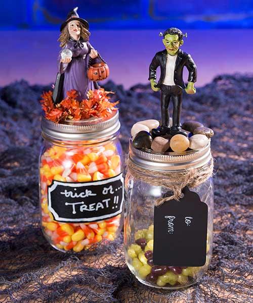 Halloween Statuettes - mason Jars