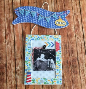 Anchors Aweigh Baby Boy Banner Frame